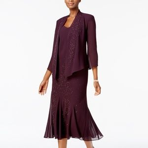 R&M Richards Sleeveless Beaded V-Neck Dress